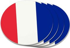 "Amazon.com: Custom & Cool {4"" Inches} Set Pack Of 4 Round Circle ""Grip Texture"" Drink Cup Coasters Made of Plastic w/ Cork Bottom w/ France National Country Worldly Flag Design [Colorful Blue, White & Red]: Home & Kitchen"