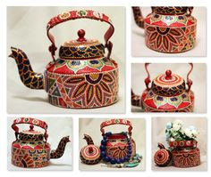 Hand Painted Traditional Aluminium Indian Kettle can be used for pouring tea, decoration or planter.