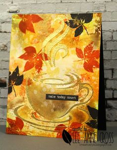Fall Coffee Lovers Blog Hop ARTplorations stencil and STAMPlorations stamps