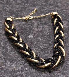 Gold & Black #Bead Embellished #Necklace