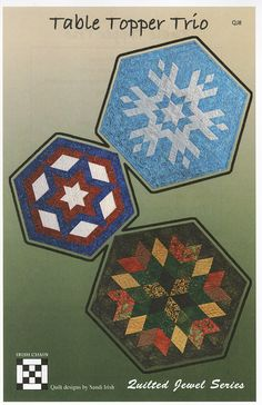 Table Topper Trio By Irish, Sandi  - Two large table toppers measure 31 from point to point. The smaller star topper is 24 from point to point. The simple centerpiece can use a 5 pre-cut pack. Uses the Quilted Jewel Templates (QJ1)