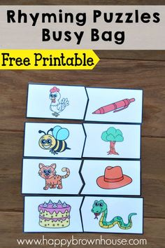Free printable Rhyming Puzzles busy bag idea. Perfect for practicing rhyming skills.
