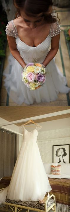 white wedding dresses, long wedding dresses, 2017 wedding dresses, wedding dresses with beads cap sleeves