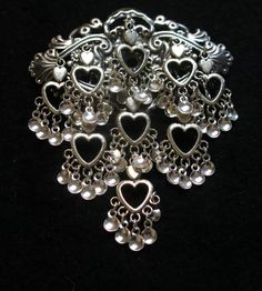 Victoria - Lovely Traditional Norwegian Solje Style Antique Silver Plated Bunad Brooch Pin with Silver Hearts and Silver Drops Silver Jewelry, Silver Rings, Silver Brooch, Chainmaille, Filigree, Brooch Pin, Antique Silver, Silver Plate, Dangles