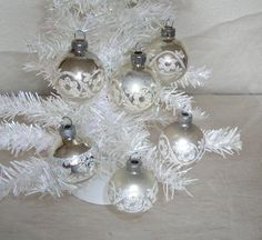 sparkly silver and creamy white glass Christmas ornaments with vintage glitter - shabby cottage chic -  hollywood regency - set of 6