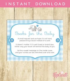 Elephant Baby Shower Printable Bring a Book Instead of a Card Invitation Insert Blue and Gray Baby Shower Stock Baby's Library Card 0048A-B by TppCardS #tppcards #printable #invitations