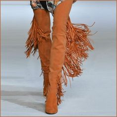 Long Fringe Russet Suede Leather Over the Knee Thigh High Square Heel LA Boots Color: Orange Russet Fastens: Short Ankle Zipper Inside Leg Upper Material: Suede, Nubuck Leather, PVC Lining, Rubber Soles US Sizes: / Boho Boots, Fringe Boots, Thigh High Boots, Over The Knee Boots, Long Fringes, Timeless Fashion, Petite Fashion, Curvy Fashion, Fall Fashion
