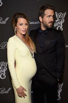 Pregnant Blake Lively and husband Ryan Reynolds at 2014 Angel Ball. #blakelively #ryanreynolds