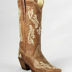 Size 8 Corral Cowboy boots Tan boot with cream stitching Corral Shoes Heeled Boots