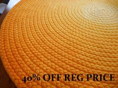 58 Deep yellow braided rug made from new by greenatheartrugs