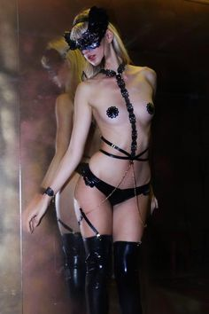 "Mariesa Mae Lingerie - ""Goddess in Chains"" Latex Harness with detachable Choker and Suspender Straps (2018)"