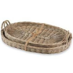 Set of two willow baskets with rims and handles. Perfect for serving or decor.