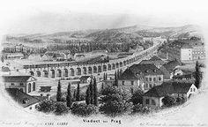 Negrelliho viadukt v Karlíně, lept, 1854 - Negrelliho viadukt – Wikipedie Historical Pictures, Old Pictures, Prague, Czech Republic, Paris Skyline, Outdoor, Bridges, Trains, Historia