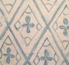 DESIGNERS GUILD Tabuki printed linen cotton blue new remnant