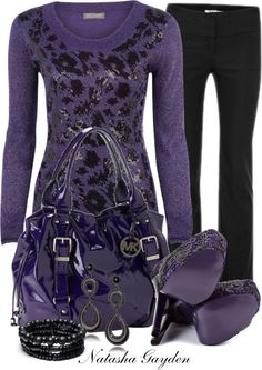"""Michael Kors- Purple Bag"" by natasha-gayden on Polyvore"