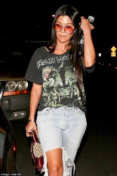 Hit the right notes in Kourtney's Iron Maiden tee #DailyMail  Click 'Visit' to buy now