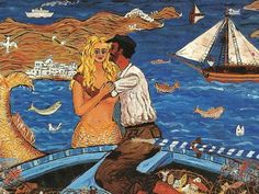 The postcards were of paintings by a Greek folk artist called Themis Tsironis and quite wonderful painting they were - mainly of scenes from Greek life, notably fishermen and boats, and of Greek history, notably Cretan, and mythology. Mermaid Images, Mermaid Art, Greece Painting, Skiathos, Greek History, Fashion Illustration Vintage, Greek Art, Greek Islands, Ocean Beach