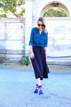 9 times you should wear a midi skirt this fall - When you've got the blues (in the best way!). More from Prosecco and Plaid via @stylelist