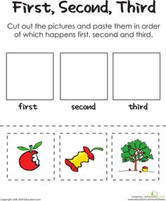 Kindergarten Comprehension Worksheets: First, Second, Third: An Apple A Day