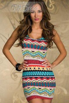 Fancy Form-fitting Stretch Mini Dress with Ethnic-print Blue Red Fashion Clubwear