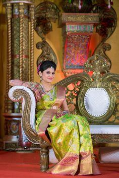 South Indian bride. Diamond Indian bridal jewelry. Jhumkis.Green silk kanchipuram sari.Braid with fresh flowers. Tamil bride. Telugu bride. Kannada bride. Hindu bride. Malayalee bride.Kerala bride.South Indian wedding.