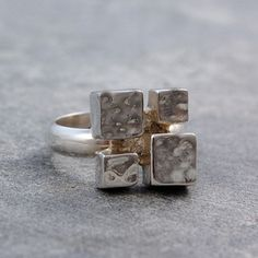 Ring 4 Cubes Silber