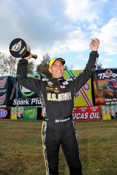 """Tony """"The Sarge"""" Schumacher wins the Fall Nationals at Maple Grove Race way in the Army Dragster."""