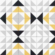 Des carreaux de ciment pour décorer votre intérieur Floor Patterns, Tile Patterns, Pattern Art, Pattern Design, Zentangle, Textiles Sketchbook, Half Square Triangle Quilts, Geometric Tiles, Style Tile