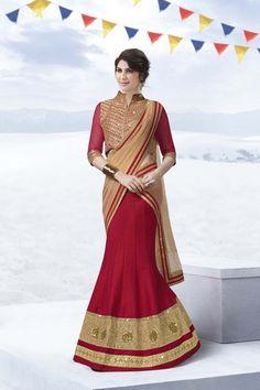 Red Georgette Wedding Chaniya Choli