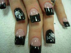 Black tip cross and bones skull halloween acrylic nails