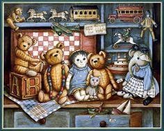 Teddy Bear Workshop, a painting of several teddy bears surrounding an antique sewing machine, shelves of threads and many patterns tacked to the wall. Description from pinterest.com. I searched for this on bing.com/images