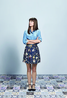 Laura Jackson wears a print mini skirt from The V&A Collection.