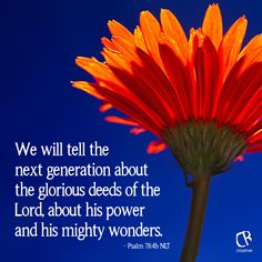 We will tell the next generation about the glorious deeds of the Lord, about his power and his mighty wonders. - Psalm 78:4b NLT Bible