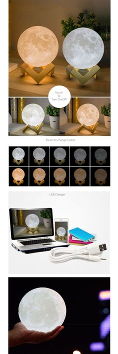 Moon Light USB Charged Night Light Source by carricoach Bedroom Lamps, Bedroom Decor, Diy Halloween, Apollo Box, Modelos 3d, Roomspiration, Kids Lighting, New Room, Dream Bedroom