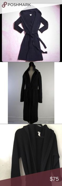 J Crew long ribbed hooded cardigan sweater J crew black long ribbed hooded belted cardigan sweater. Size small. This sweater is perfect for a fall night. J. Crew Sweaters Cardigans