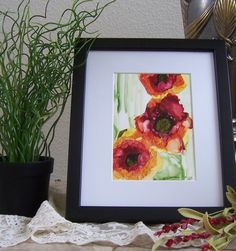 alcohol ink art painting florals and green with mat by twocooltexans on Etsy https://www.etsy.com/listing/231190443/alcohol-ink-art-painting-florals-and