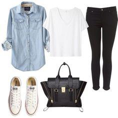 White T-Shirt + Chambray Shirt + Black Jeans + White Converse + Black Handbag // The Blissful Mind