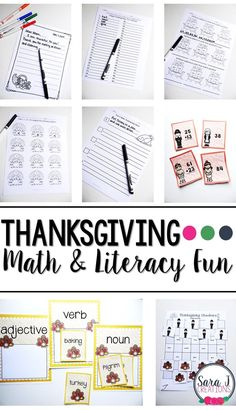 Thanksgiving themed printable ELA & Math activities for the classroom 2nd Grade Teacher, Teaching First Grade, Teaching Kindergarten, Preschool Learning, Early Learning, Fun Learning, Teaching Ideas, Math Literacy, Early Literacy
