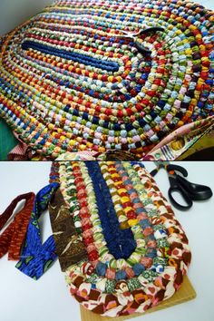 Beautiful handmade braided rug. Looks like a no-sew project, but no tutorials or details are made available. It's clearly braided; probably woven into the previous row? Might have to give it a try.