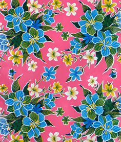Dark Pink Hibiscus Oilcloth I don't know why but I find this fabric Interesting $5.25/yard