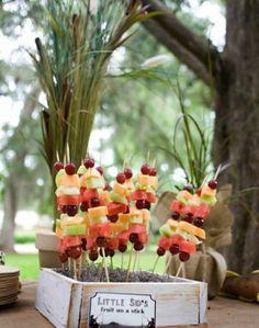 Fruit Kabobs for a luau Fruit Kabobs, Fruit Salad, Backyard Bbq, Menu Items, Luau Party, Bbq Party, Summer Parties, Kid Parties, Bon Appetit