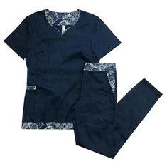 Amelie Blue Cute Nursing Scrubs, Waiter Uniform, Koi Scrubs, Nursing Accessories, Medical Uniforms, Medical Scrubs, Work Attire, Custom Clothes, Costume