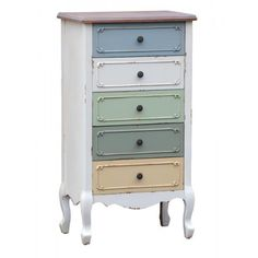 Orleans multi colour french tallboy chest of drawers - TFH100-MC