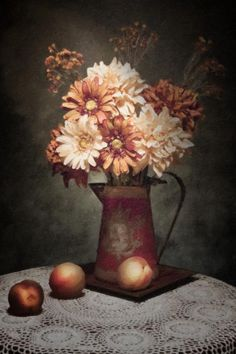 """Flowers with Peaches Still Life"" still life photograph by Tom Mc Nemar"