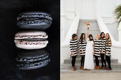 Awesome stripped dresses on the bridesmaids. Great graphic look.