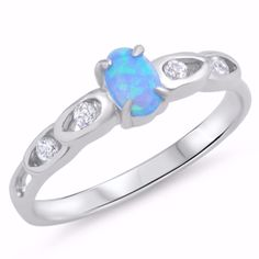 Sterling Silver CZ Lab Light Blue Opal Simulated Diamond Oval center Ring