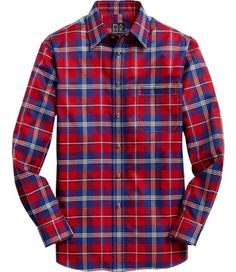 Traveler Collection Tailored Fit Point Collar Plaid Sportshirt