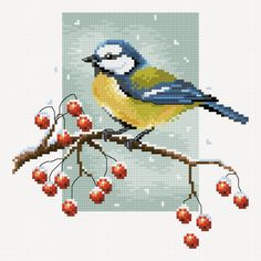 Bird on a twig preview - free cross stitch pattern pinned separately