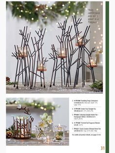 Partylite Fall / Holiday 2015 Catalog Twinkling Twigs Centerpiece