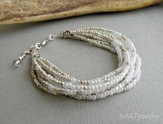 White & Silver Bracelet, Multi Strand Bracelet, beaded bracelet,seed beads bracelet, pearly bracelet, wedding bracelet, bride on Etsy, $24.53